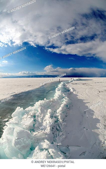 Hummocks, frozen Lake Baikal, Siberia, Russian Federation, Eurasia