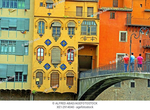 houses along the river Onyar, Girona, Catalonia, Spain