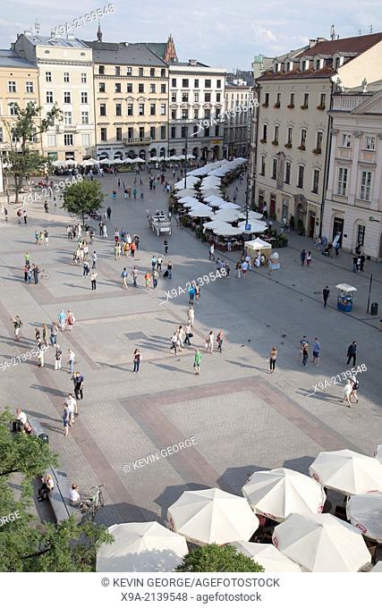 Facades of Rynek Glowny - Town Square, Krakow, Poland