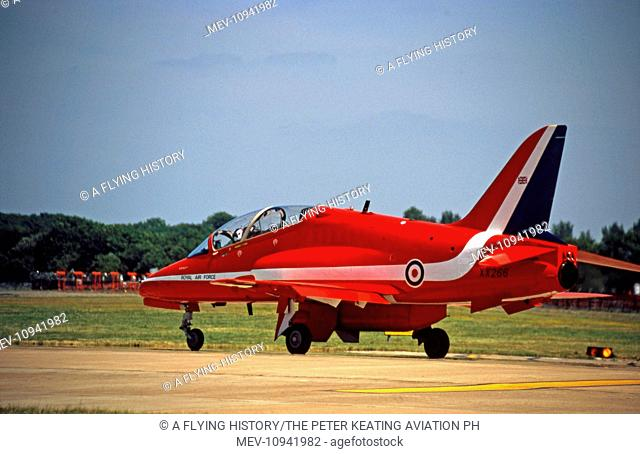 RAFAT RAF Red Arrows BAe Systems Hawks Taxy out for display at Fairford in July 2005. XX266 has been with the Red Arrows since they converted to Hawks in 1979