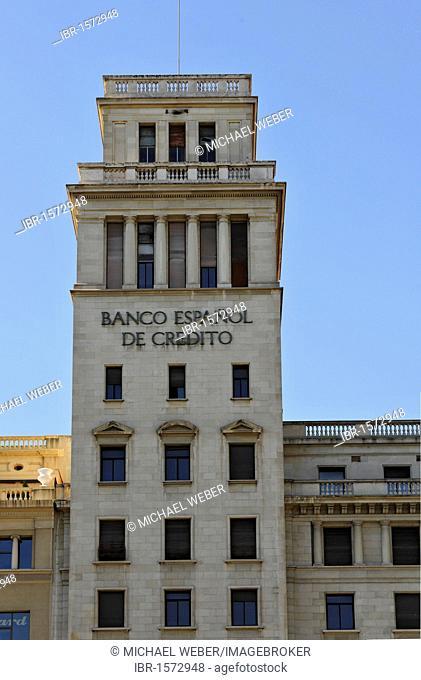 Banco Espanol de Credito bank, Plaza de Catalunya Catalonia square, Barcelona, Catalonia, Spain, Europe
