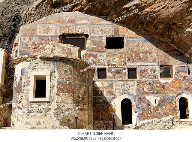 Turkey, Province Trabzon, Sumela Monastery, Rock-hewn church with frescos