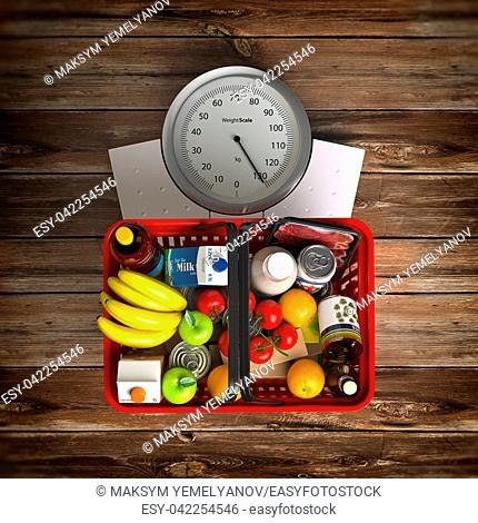 Groceries in a shopping basket on weight scale. Overnutrition, malnutrition, overconsumption and diet concept. 3d illustration
