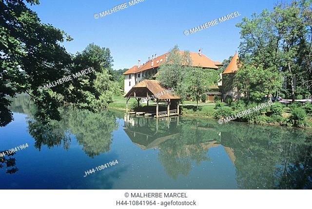 Slovenia, Novo Mesto, Otocec, castle, island, Krka river, luxury hotel, Europe, landscape, nature, water