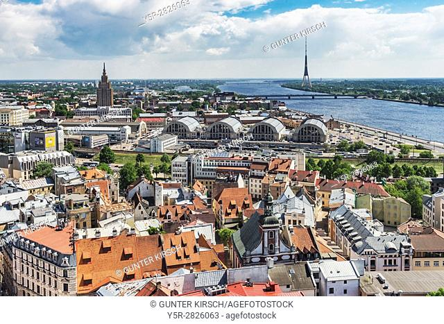 View over Riga, the capital of Latvia, to the television tower, the Daugava River (Western Dvina) and to the high rise building of the Academy of Sciences, Riga