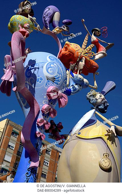 Decoration of a Falla, papier-mache and wooden sculpture, Fallas festival (UNESCO Intangible Cultural Heritage of Humanity), Valencia, Spain