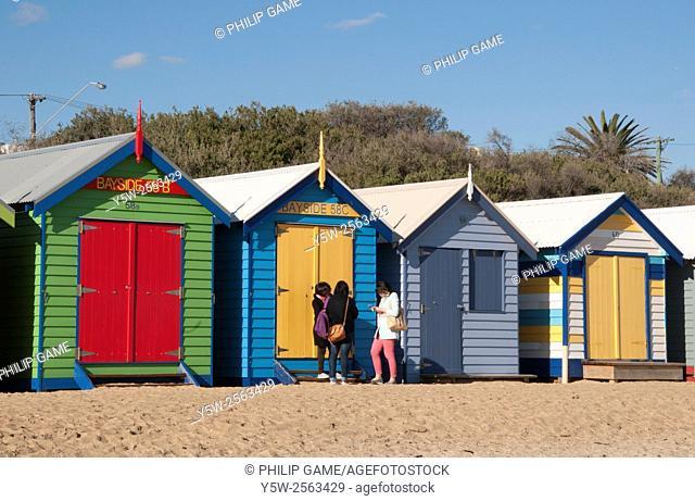 Bathing boxes at Brighton Beach on Port Phillip Bay, Melbourne, Australia