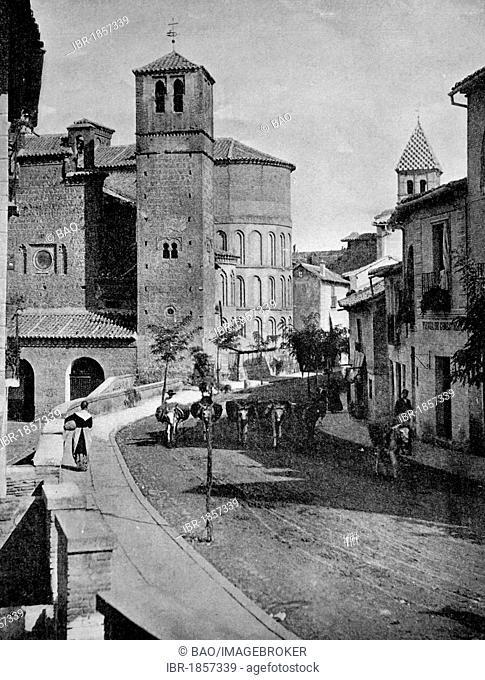 Early autotype of Toledo, UNESCO World Heritage Site, Castile-La Mancha, Spain, historical photo, 1884