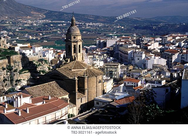 aerial view and church of Loja, Granada, Andalusia, Spain Europe