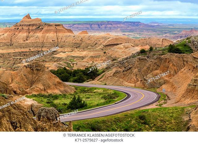 A park roadway in the Badlands National Park near Wall, South Dakota, USA