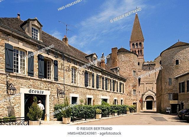 France, Saone et Loire, Tournus, the abbey and the hotel restaurant Greuze