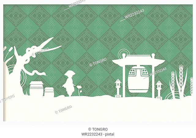 Traditional Korean patterns with person, crocks, and Buddist temple bell