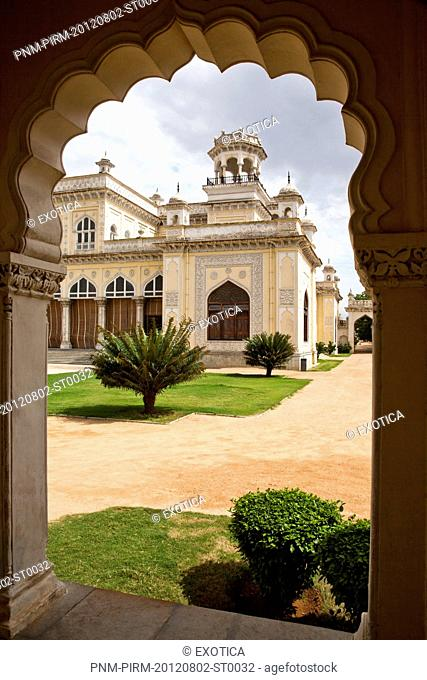 Exterior of a Palace through arch, Chowmahalla Palace, Hyderabad, Andhra Pradesh, India