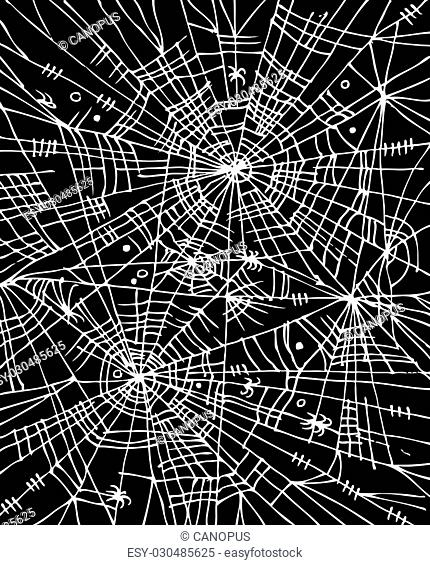 Halloween web background. Eau-forte black-and-white decorative texture vector illustration