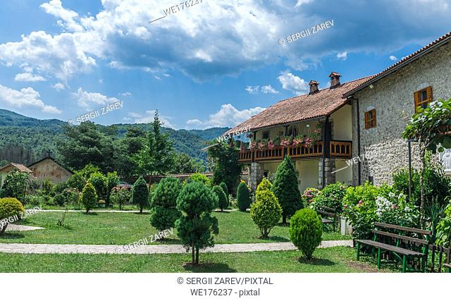 Kolasin, Montenegro - 07. 16. 2018. Orthodox monastery Moraca. One of the most popular places to visit tourists in Montenegro