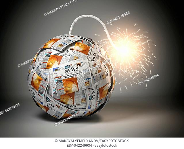 Breaking hot news concept. Bomb from newspapers with wick and sparks. 3d illustration