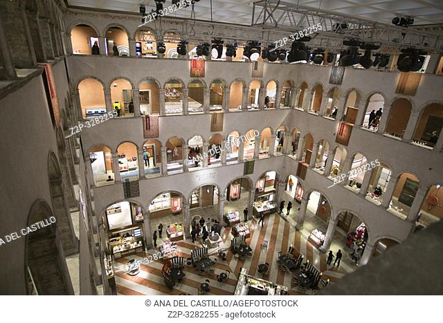Venice Italy on January 20, 2019: Fondaco dei Tedeschi, luxury department store interior, high angle view with people and tourists in Venice