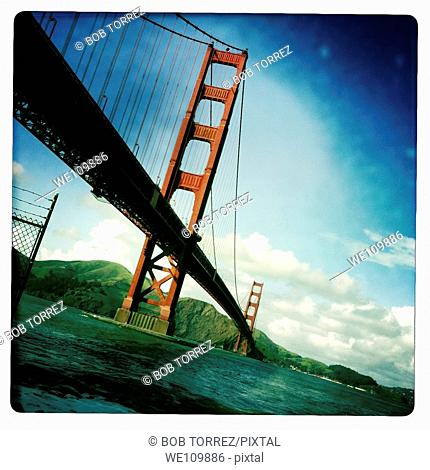 Old polaroid style images of San Francisco Golden Gate Bridge, California, USA