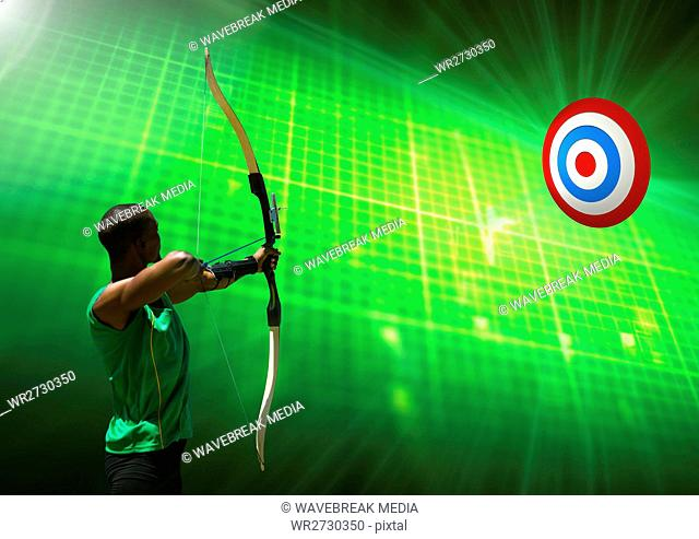 Man aiming with bow and arrow at target