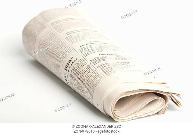 A german newspaper isolated on white background