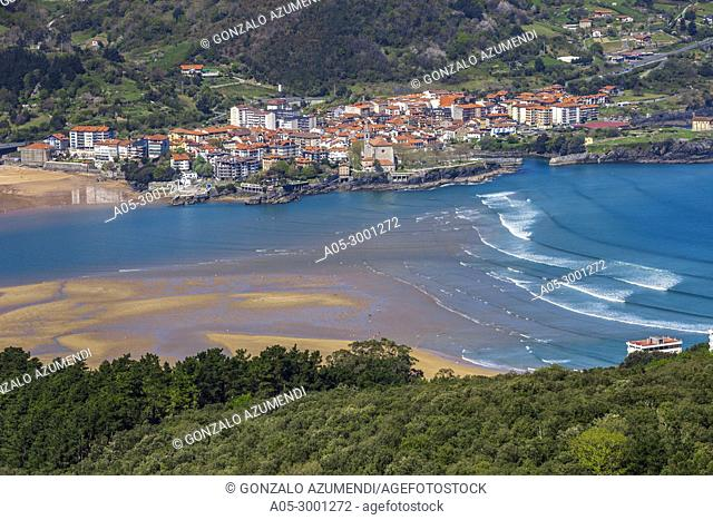 View of Urdaibai Estuary and Mundaka Village from San Pedro de Atxarre hermitage. Urdaibai Biosphere Reserve. Biscay, Basque Country, Spain