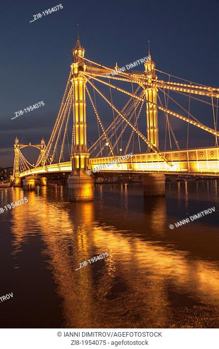 Albert Bridge on the river Thames,connecting Chelsea and Battersea on the south , London,England.4,000 bulbs illuminate Albert Bridge at night