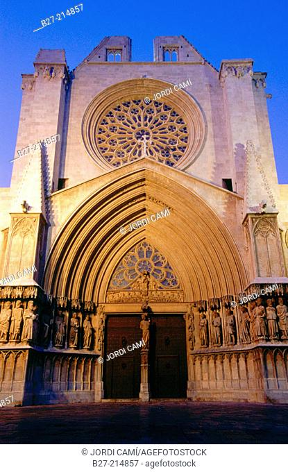 Main front of Gothic cathedral. Tarragona. Spain