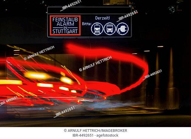 Fine dust alarm in Stuttgart, street with light trails, road sign, Stuttgart, Baden-Württemberg, Germany