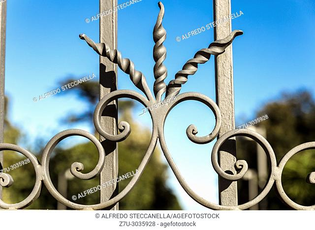 artistic wrought iron in an ancient Sicilian gate