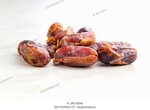 Sweet dates without stones on kitchen table