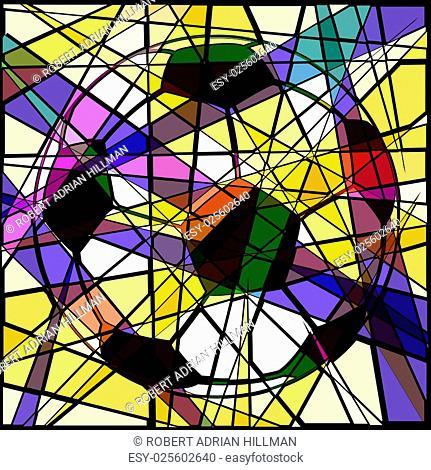 Editable vector design of a soccer ball mosaic