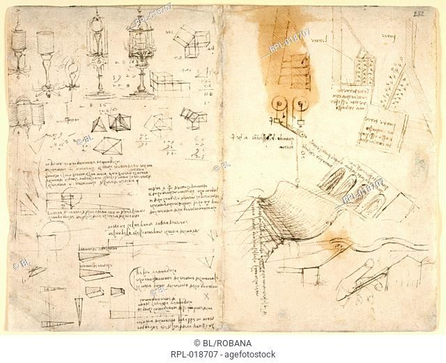 Drawings by Leonardo Da Vinici on on the mechanical powers and forces percussion gravity motion optics and astronomy with various arithmetical and geometrical...