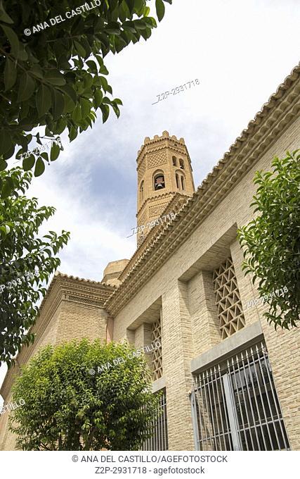 Tauste town Zaragoza Aragon Spain St Mary church Mudejar architecture