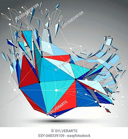 3d vector low poly deformed object with connected black and white lines and dots, colorful geometric wireframe shape with fractures