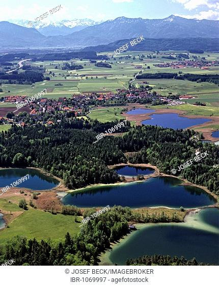 Aerial picture, Osterseen Lakes near Iffeldorf, Pfaffenwinkel, Wetterstein Range, Upper Bavaria, Germany, Europe