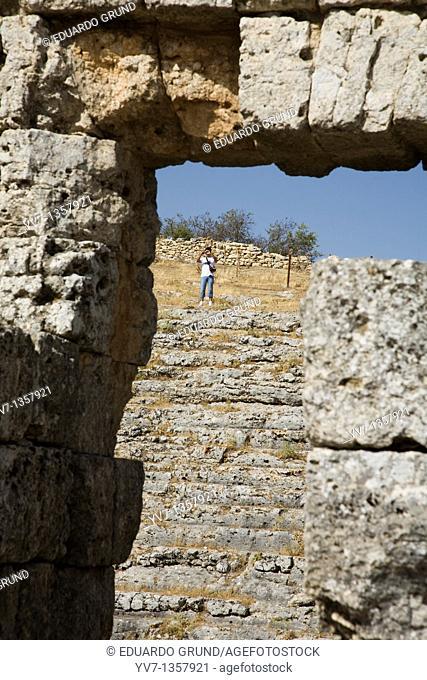 Remains of the Roman Theatre of Acinipo, Roman city of Acinipo, Ronda, Andalucia, Spain