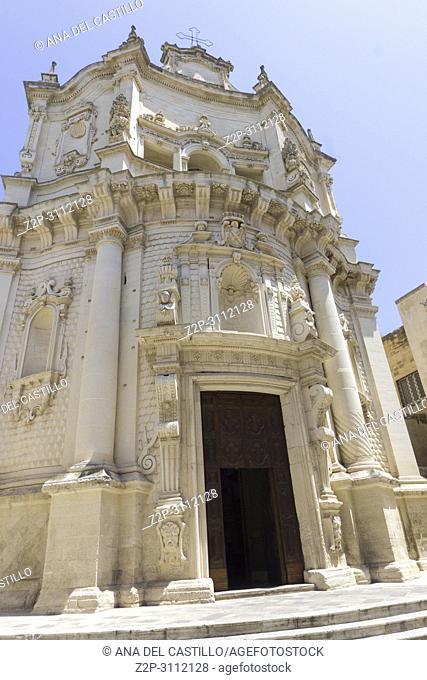 Cityscape in Lecce on July 13, 2018 Puglia Italy. St Matteo church