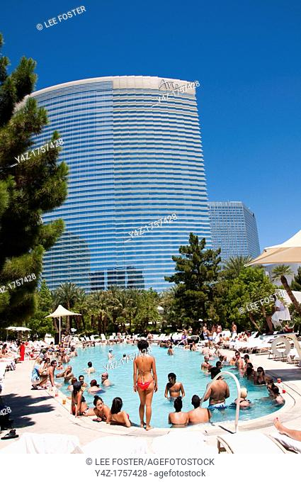USA Las Vegas, Aria resort on the Strip, with its emphasis on design and outdoor pools  People enjoying the pools