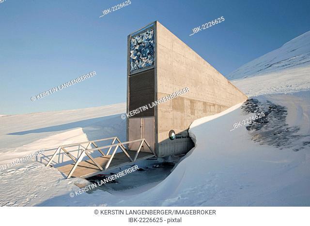 Entrance to the Svalbard Global Seed Vault Longyearbyen, Spitsbergen, Svalbard, Norway, Europe