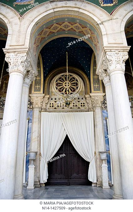 Entrance of the Mitrópoli Metropolitan Cathedral of Athens, Greece