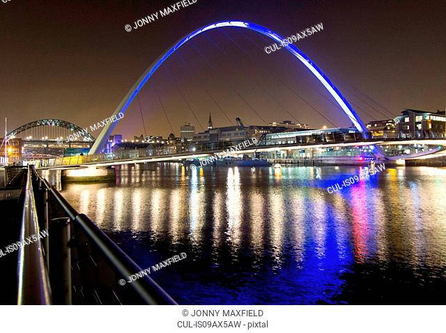 Millennium Bridge at night, Newcastle, UK