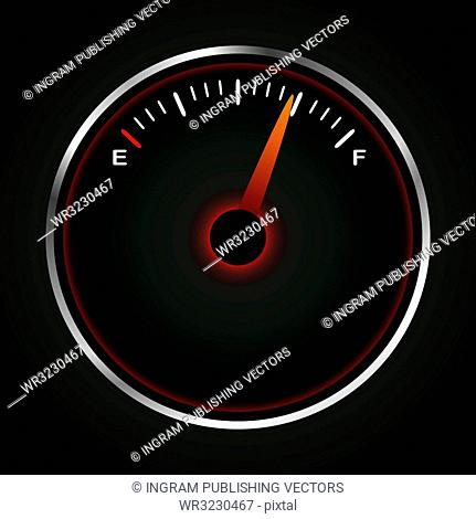 Fuel dial with red neon and silver bevel