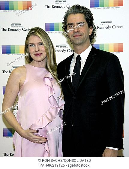 Actress Lily Rabe and actor Hamish Linklater arrive for the formal Artist's Dinner honoring the recipients of the 39th Annual Kennedy Center Honors hosted by...