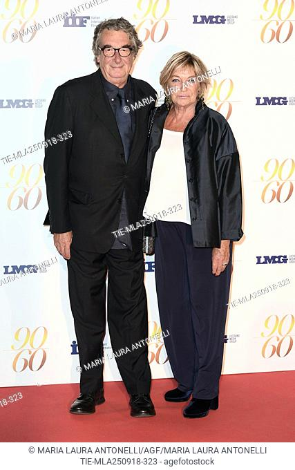 Director Neri Parenti with wife Vivian during red carpet of 60/90 party, for 60 years of career and ninetieth birthday of Fulvio Lucisano, Italian Film Producer