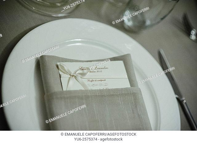 Detail of the tables prepared for wedding dinner