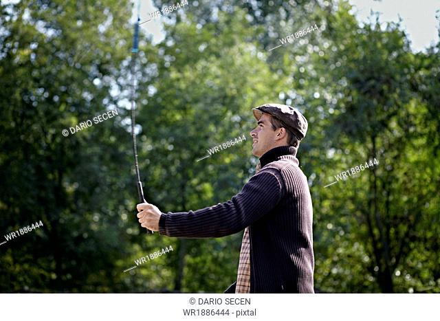 Man holding Whip, Baranja, Croatia, Europe