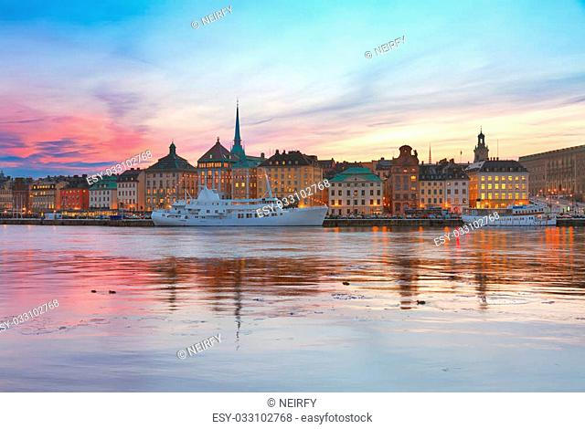colorful sunset scenery of the Old Town in Stockholm, Sweden