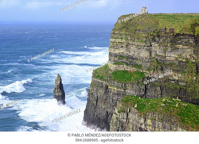 Cliffs of Moher and O'Brien's tower, Clare county, Ireland