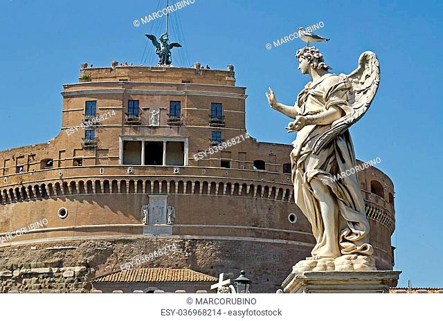 Statue against Castel St Angelo, Rome