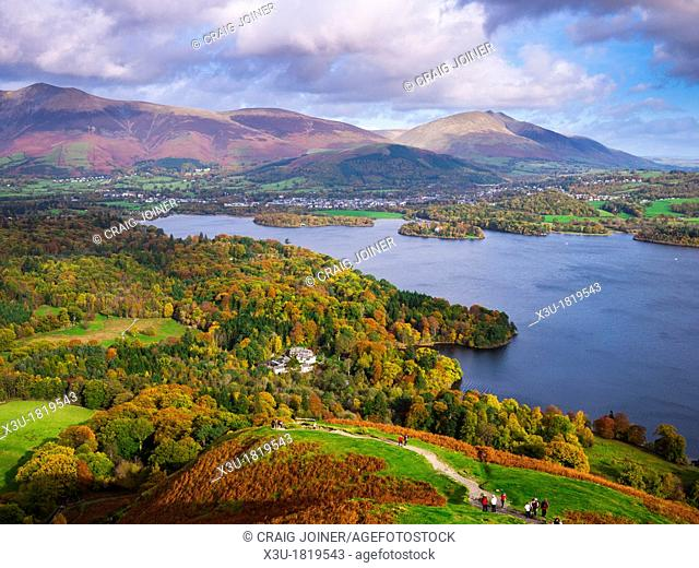 View from Catbells over Derwent Water towards Lonscale Fell, Blencathra and Keswick in the Lake District Cumbria, England, United Kingdom